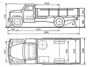 Габаритные размеры автомобиля ГАЗ-52-07, ГАЗ-52-09 ,ГАЗ-52-27